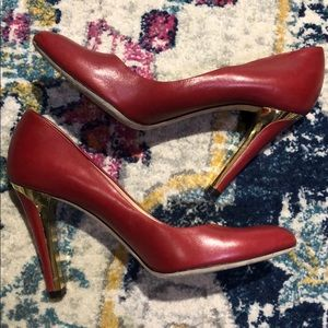 Jimmy Choo Red Leather Pumps with Gold Heel